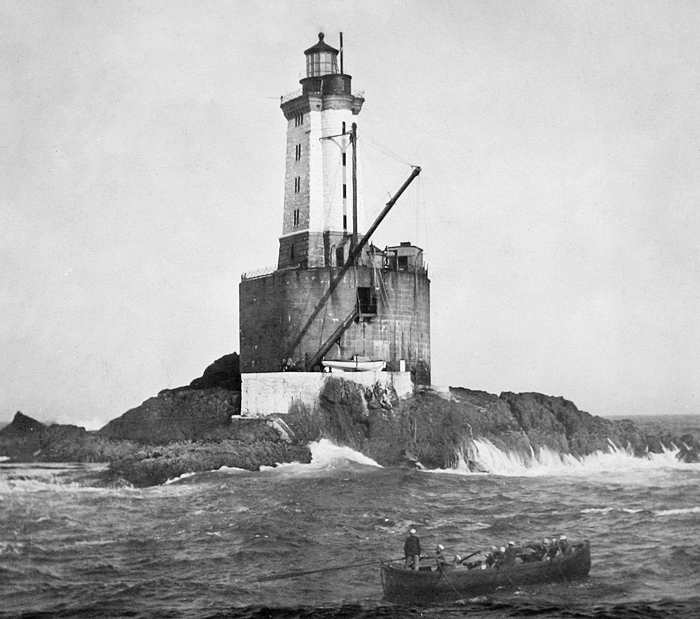 st. george reef light in black and white
