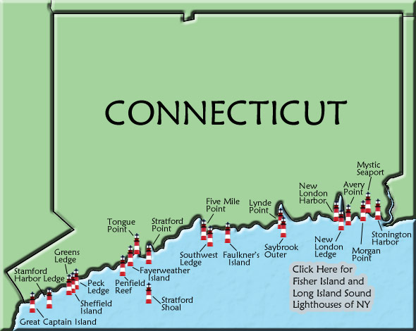 Connecticut Lighthouse Map - Connecticut on a us map