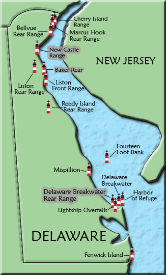 Delaware Lighthouse Map on