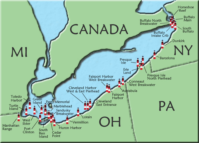 Lake Erie Map Canada Lake Erie Lighthouse Map