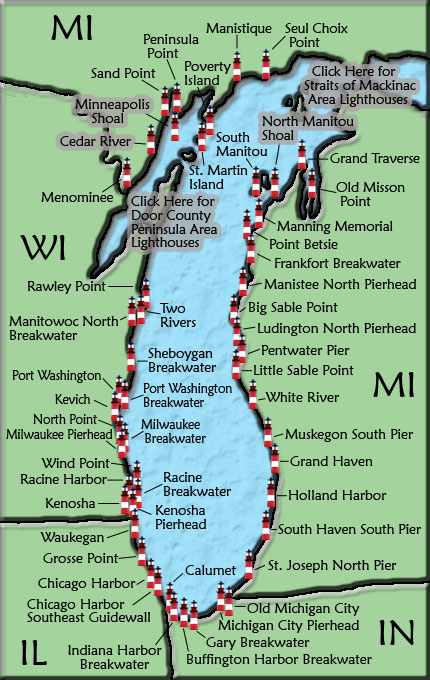 Map Of Lake Michigan Lake Michigan Lighthouse Map