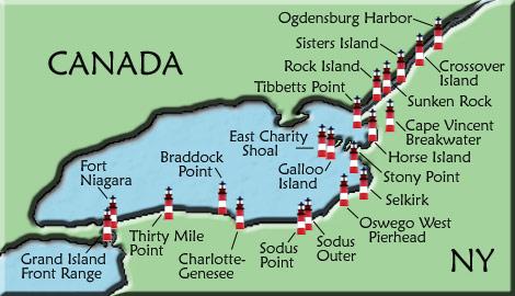 Lake Ontario Lighthouse Map on