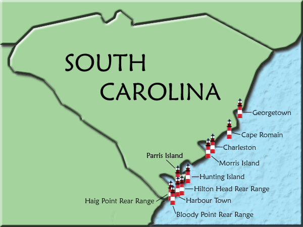 South Carolina Lighthouse Map - Charleston sc on us map