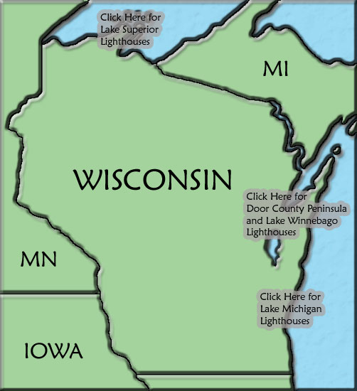 Wisconsin Lighthouse Map - Wisconsin on the us map